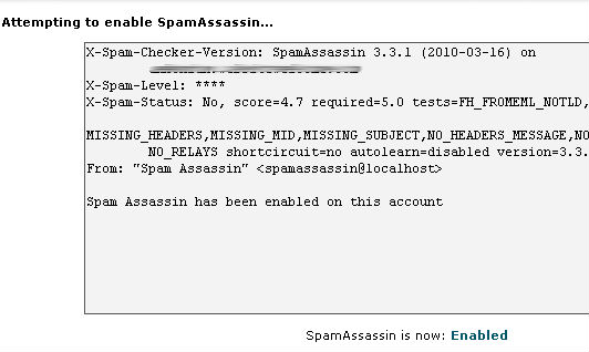 Spam assassin enable process