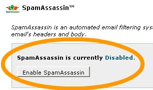 The Button To Enable Spam Assassin