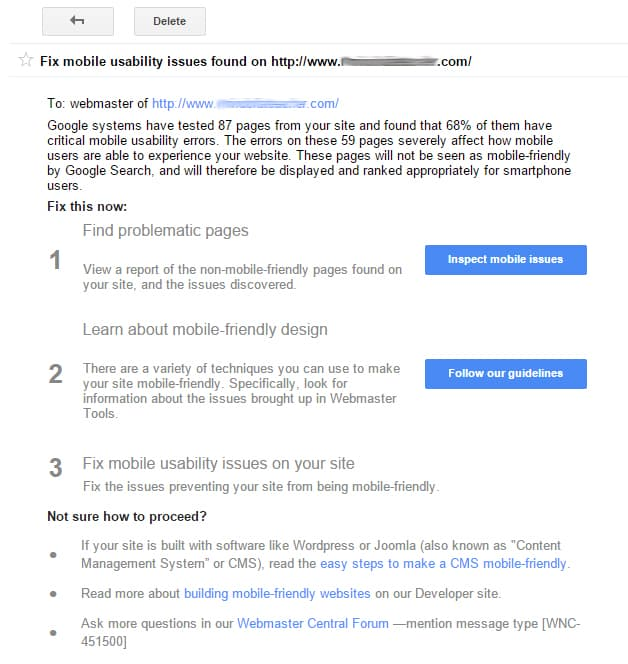 Google Mobile Test Warning