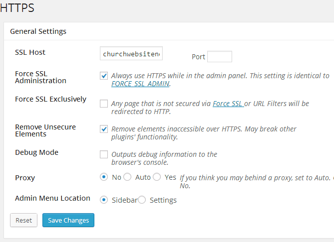 Settings for the WordPress Https plugin