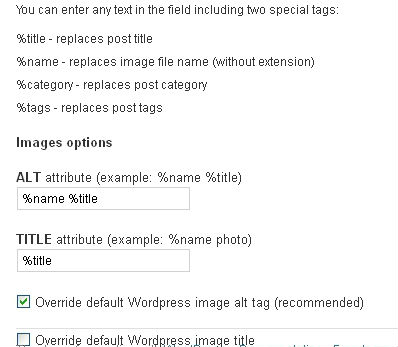 SEO Friendly Images Plugin Options Page